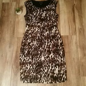 EN FOCUS FauxWrap ANIMAL PRINT JERSEY Empire DRESS